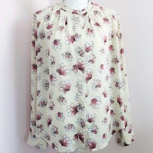Ann Taylor Long Sleeve Floral Print Blouse